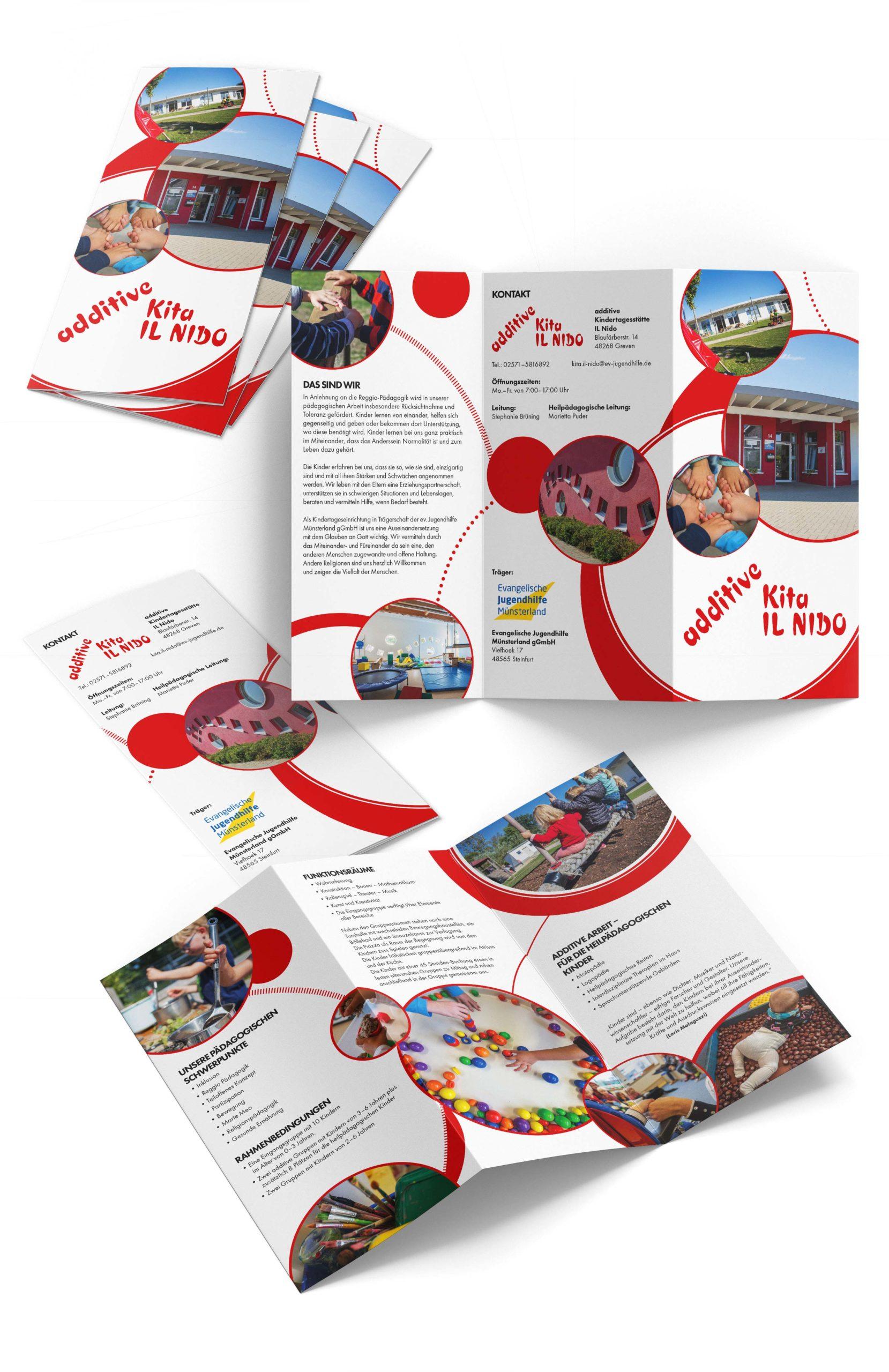 Design für Kindergarten IL NIDO in Greven – Faltblatt