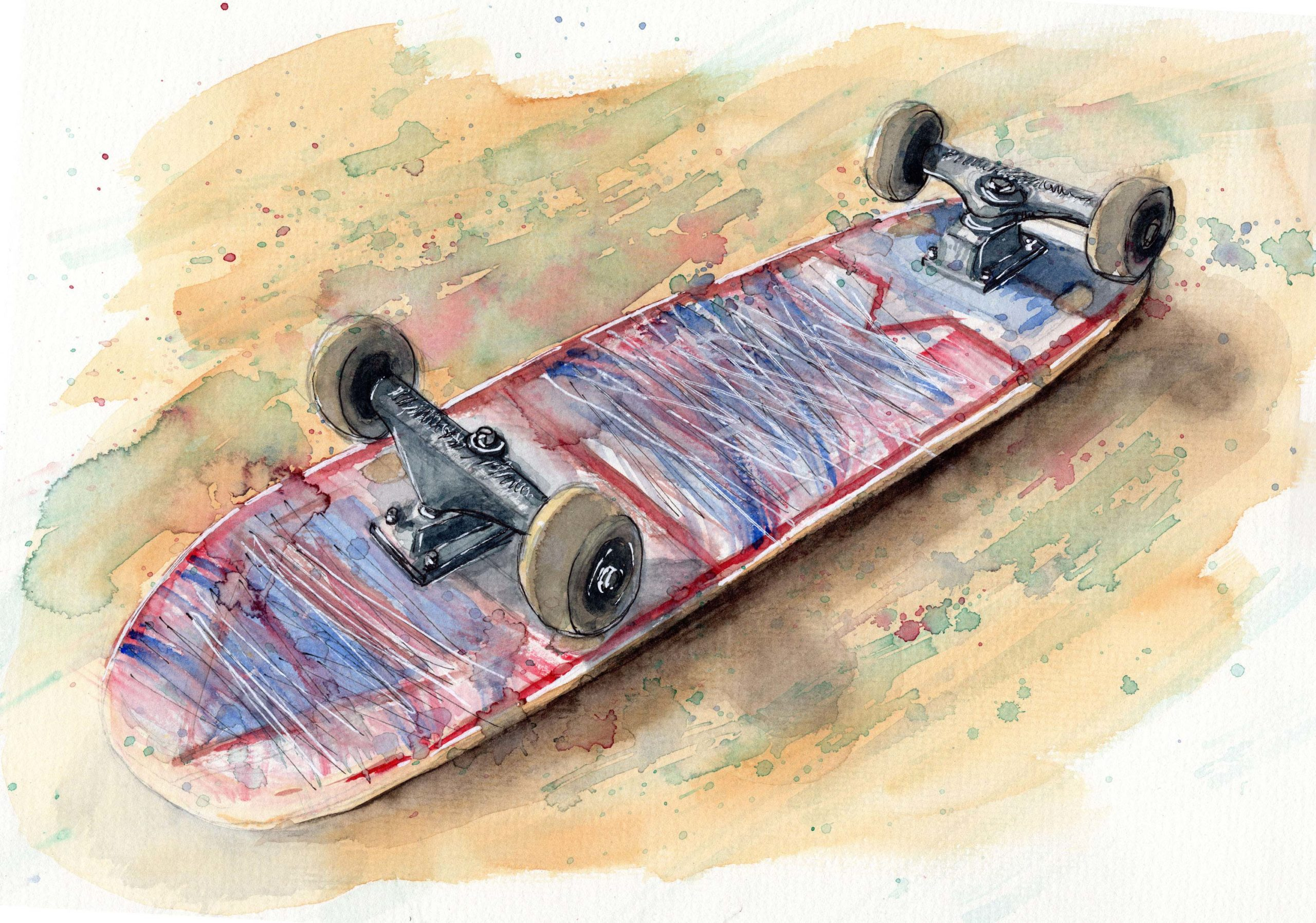 Skateboard Aquarell